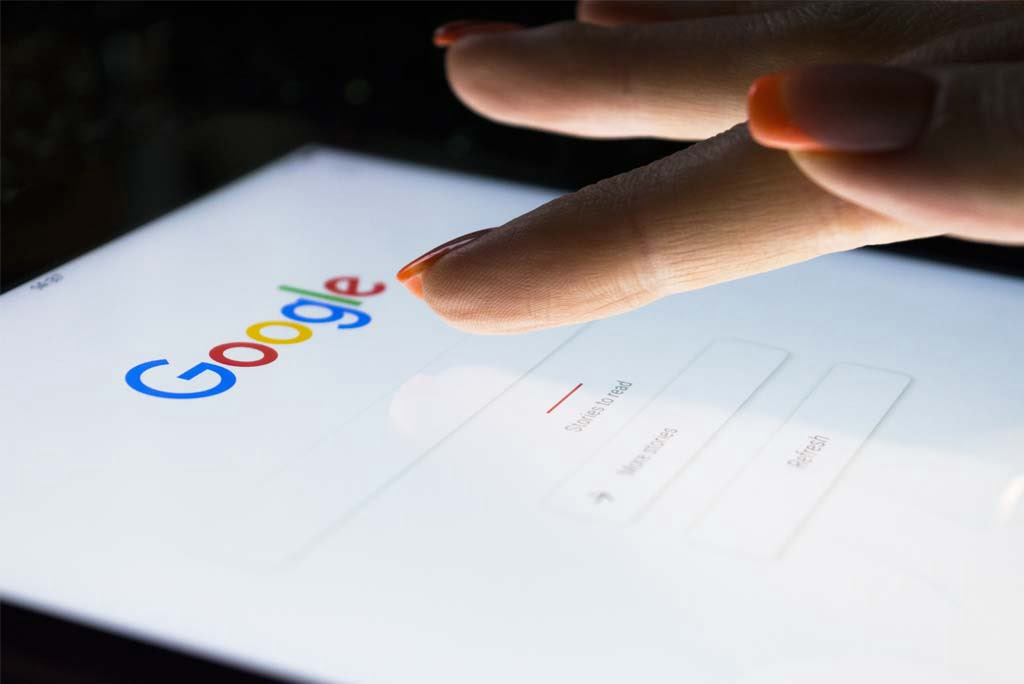 A professional web design agency testing results on Google